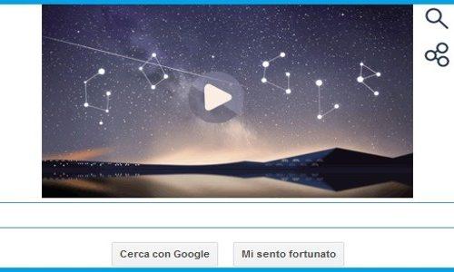 Google Doodle in uno Sciame meteorico delle Perseidi per la notte di San Lorenzo